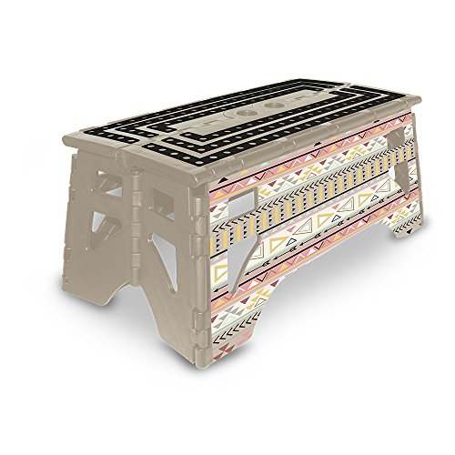 eXpace 13 Inch Wide Plastic Folding Step Stool for Adults, Supports up to 350 lbs, Non Slippery Multipurpose Platform, Tribal Chic by eXpace