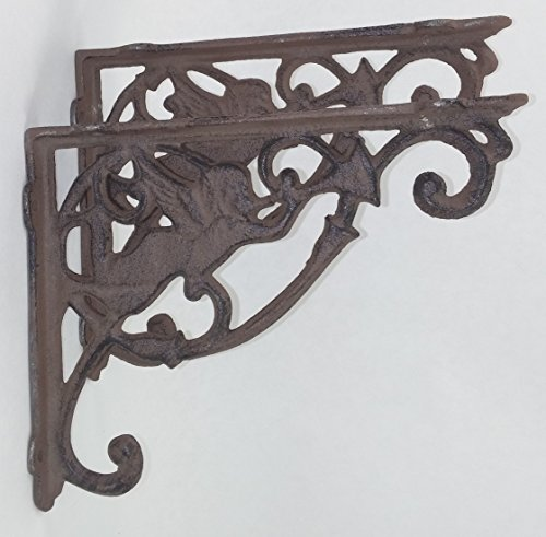 Aunt Chris' Products - [Lot/Set of 2] - Cherub Shelf Bracket - Durable Cast Iron - Rustic Bronze Finish - Primitive Design - Indoor or Outdoor Use - Great For A Small Shelf Accent