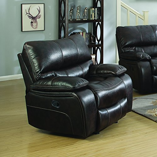 coaster willemse casual glider recliner with lumbar support, chocolate