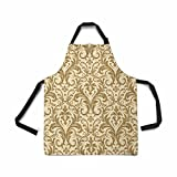 InterestPrint Damask Seamless Pattern Apron Kitchen Cook for Women Men Girls Chef with Pockets, Luxury Damask Funny Adjustable Bib Baking Paint Cooking Apron Dress