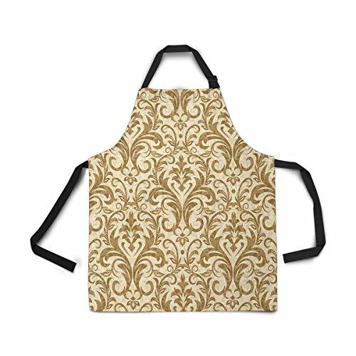 InterestPrint Damask Seamless Pattern Apron Kitchen Cook for Women Men Girls Chef with Pockets, Luxury Damask Funny Adjustable Bib Baking Paint Cooking Apron Dress