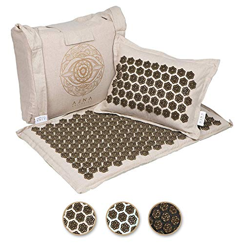 Ajna Acupressure Mat and Pillow Set - Natural Organic Linen Cotton Acupuncture Mat & Bag - Back Pain Relief
