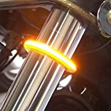 Motorcycle Fork LED Turn Signal Strip Lights Kit Smoked Lens for Harley Davidson Victory Universal Super Bright and Waterproof Cool Motor Lamp 2Pcs - Amber (39mm - 41mm)