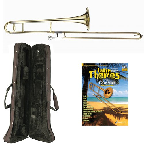 Latin Themes Bb Tenor Slide Trombone Pack - Includes Trombone w/Case & Accessories & Play Along Book