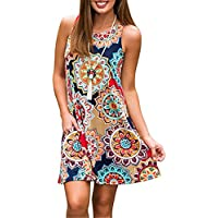Luranee Womens Casual Sleeveless Dresses Knee Length Tunic Dress with Pockets