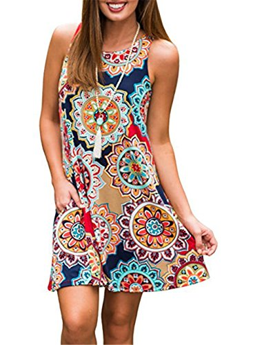 (Luranee Knee Length Dresses for Women, Juniors Summer Clothes Casual Printed Dress Nice Modest Petite Wear Outfits Loose Fitting Knitted Vivid Long Dressy Tunics Geometric Flowers)