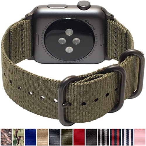 21b22c3b69bd Carterjett Compatible Apple Watch Band 42mm 44mm Nylon Olive iWatch Band  Replacement Strap Durable Dark Gray