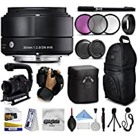 Sigma 30mm F2.8 DN Black Lens for Panasonic/Olympus Micro Four Thirds (33B963) with 3 Piece Filter Set + Stabilizer Handle + Backpack + 67 Monopod + Wrist Strap + Cleaning Kit + Lens Brush Pen + More