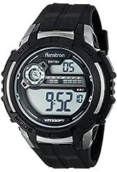 Armitron Sport Men's 40/8313BLK Silver-Tone Accented Digital Chronograph Black Resin Strap Watch