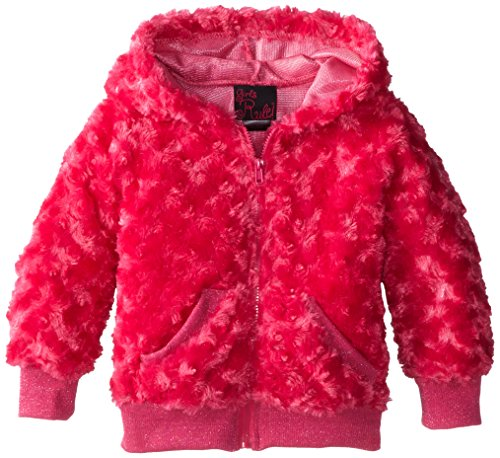 Girls Rule Little Girls' Curly Fur Hoodie with Sparkle Rib, Fuchsia, 2T