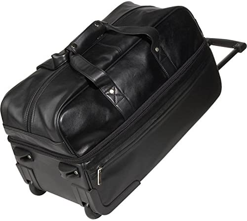 Royce Leather Luxury Rolling Trolley Duffel Bag Luggage Handmade in Leather, Black, One Size