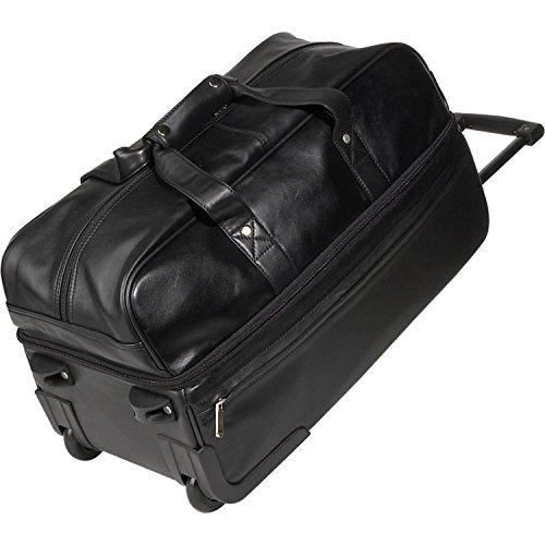 Royce Leather Luxury Rolling Trolley Duffel Bag Luggage Handmade in Leather, Black, One Size