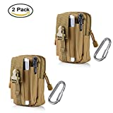 ZJtech Tactical Molle Pouch Compact EDC Utility Gadget Waist Bag Pack with Cell Phone Holster for iPhone 6 Plus (2 Pack - Tan)