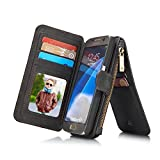 RAYTOP® 15-Slot Card Holders, Samsung Galaxy S7 Case Wallet, Inside Cover Removable from Wallet, Button + Zip + Magnet Closure, Multiple Pockets for Money / ID Cards / Driving License, Retro Black