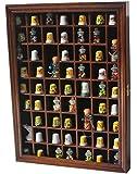 59-Opening Souvenir Thimble Small Miniature Display Case Cabinet Rack Holder, Glass Door, SOLID WOOD-Walnut Finish TC01-WA