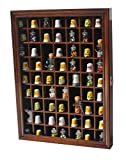 59-Opening Souvenir Thimble Small Miniature Display Case Cabinet Rack Holder, Glass Door, LOCKABLE (Walnut)