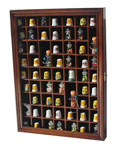 - 59-Opening Souvenir Thimble Small Miniature Display Case Cabinet Rack Holder, Glass Door, LOCKABLE (Walnut)