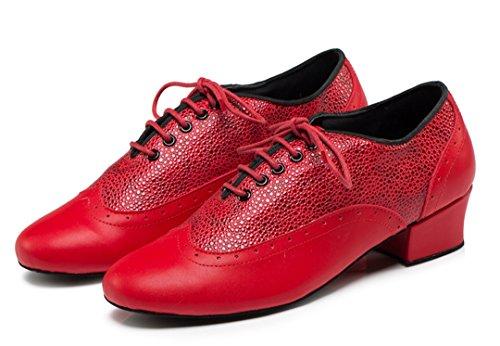 TDA Herren Schnürschuh Round Toe Leder Komfort Fashion Salsa Tango Ballsaal Latin Modern Dance Schuhe rot