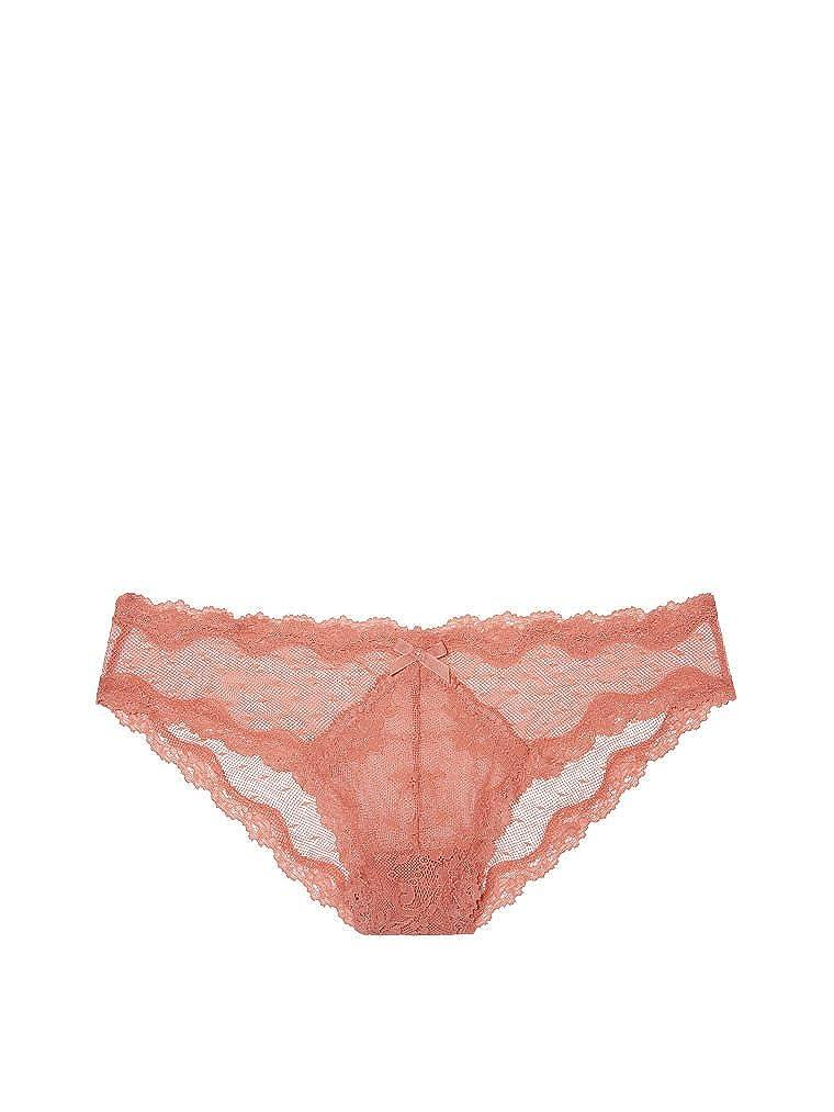 ba1a00aab108 Victoria's Secret Dream Angels Lace & Dot Mesh Cheekini Panty Sedona Rose  (Medium) at Amazon Women's Clothing store: