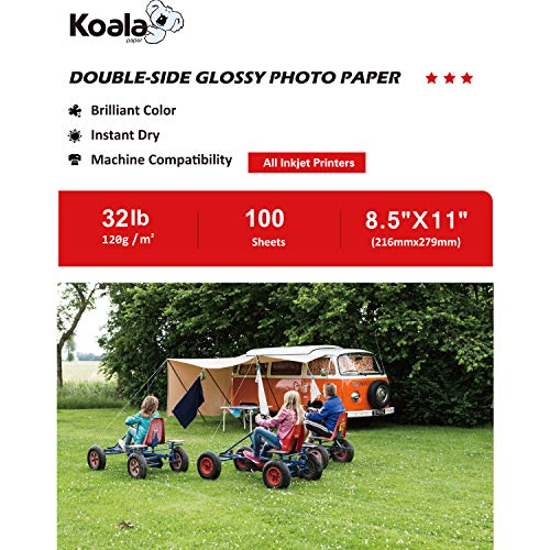 Koala Double Side Glossy Photo Paper 8.5x11 Inches 120gsm 100 Sheets Compatible with All Inkjet Printer