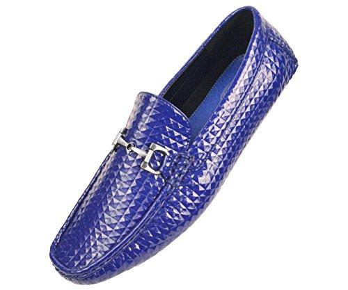 Amali Uomo Borchiato 3d Brevetto In Rilievo Mocassino Driving Shoe Con Fibbia Argento Stile Parrino Blu