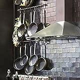 Stainless Steel Gourmet Kitchen Wall Rail and 10 Large S Hooks Set Utensil Pot Pan Lid Rack Storage Organizer