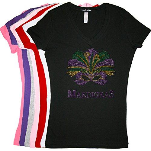 Madi Gras with Mask - Rhinestone Rhinestone LADIES V-NECK Mardi Gras T-shirt - Tight Fitting - RUNS (Madi Gras)