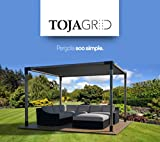 Toja Grid Pergola Kit - Easy Assembly Pergola with Shade Sail (10x12, Matt Black)