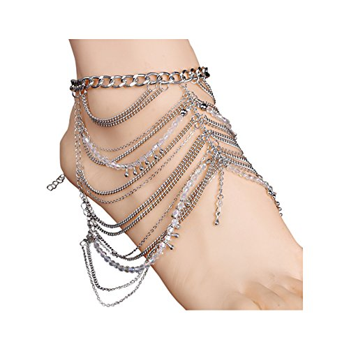 Foot Chain Links (Boosic Boho Multilayer Chain Link With Zircon Anklet Chain Foot Jewelry For)