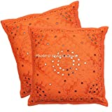 Stylo Culture Indian Mirror Embroidered Throw Pillow Covers 24x24 Set Of 2 Dorm Decor Orange Large Sofa 24 X 24 Outdoor Seat Cushion Coverw |Pair