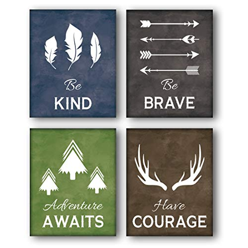 Unframed Be Kind-Be Brave Quotes Inspirational Art Print, Deer Horn, Trees, Feather,Arrow Painting, Set of  4(8