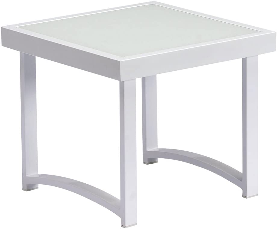 ART TO REAL Modern Square End Tables for Living Room, White Rustic Aluminum Outdoor Side Table, Patio Tempered Glass Accent Table End Table