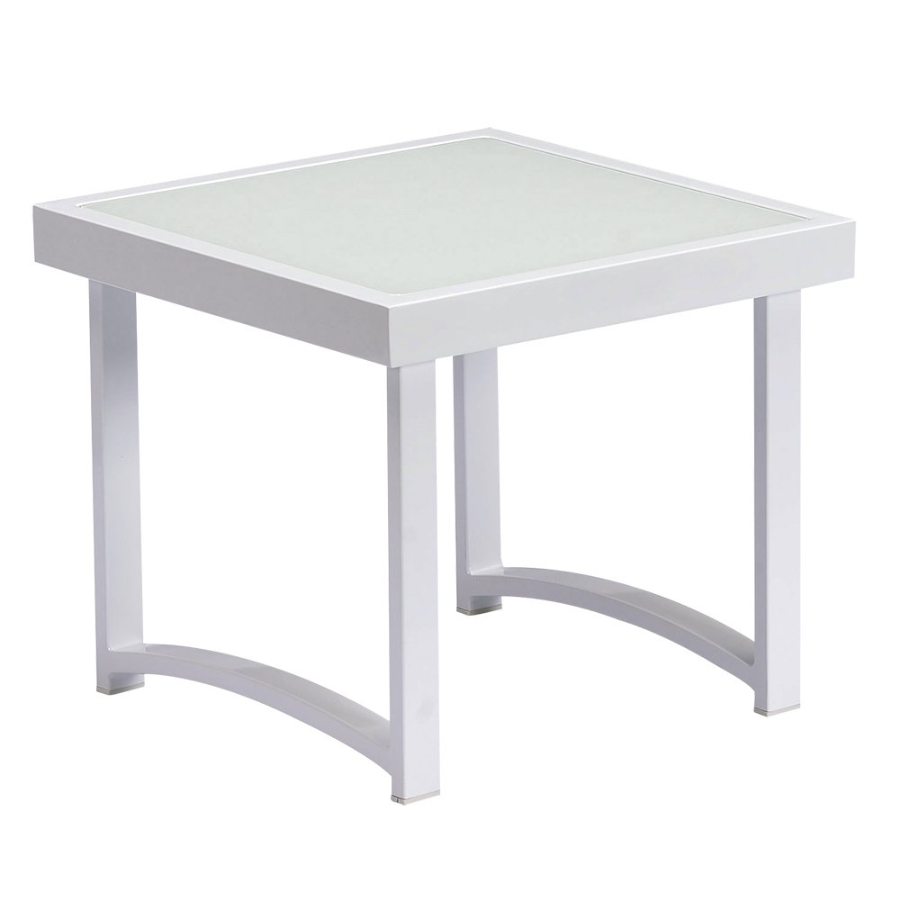 Amazon com art to real modern square end tables for living room white rustic aluminum outdoor side table patio tempered glass accent table end table