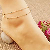 Vogue Gold Double Chain Anklet Ankle Bracelet Barefoot Sandal Beach Foot Jewelry