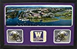 Encore Select 657-29 NCAA Washington Huskies Double Custom Framed Sports Memorabilia with Two Mini Helmets Photograph and Name Plate