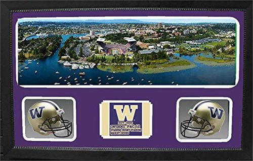 Encore Select 657-29 NCAA Washington Huskies Double Custom Framed Sports Memorabilia with Two Mini Helmets Photograph and Name Plate by Encore