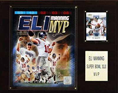 NFL Eli Manning Super Bowl XLII MVP New York Giants Player Plaque