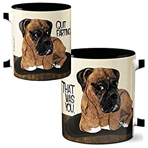 Farting Boxer Dog Mug by Pithitude - One Single 11oz. Black Coffee Mug 19