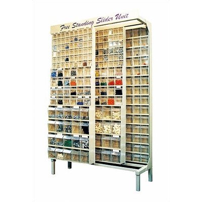 Free Standing Slider Storage System with 5, 6 and 9 Compartment Tip Out Bins Color: Ivory