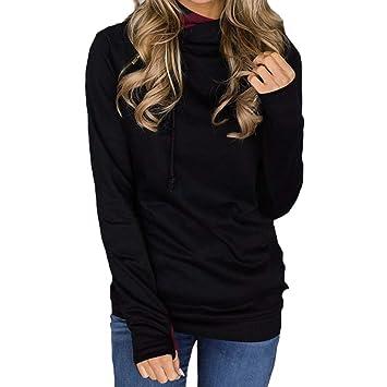 Mujer blusa tops manga larga con capucha cremallera,Sonnena ❤ Sudadera de color sólido
