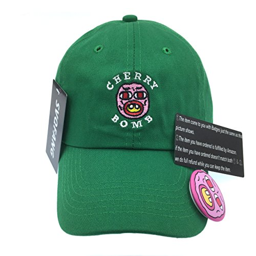 Golf Wang Cherry Bomb Baseball Dad Hat Cap Bastard Snapback Wolf Men Panel (Green)