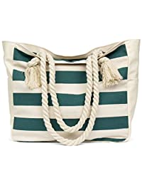 Malirona Large Beach Canvas Travel Tote Bag - Perfect Tote Bag For Holidays-Green