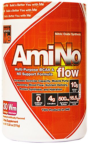 Muscle Elements Amino Flow, Multi-Purpose BCAA & Nitric Oxide Booster for Muscle Fullness, Endurance and Protein Synthesis, Watermelon, 30 Serving