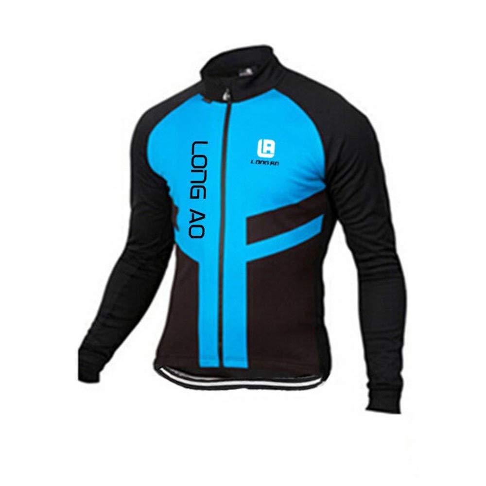 Chengzuoqing Fahrradanzug Radsportbekleidung Herren Langarmtrikot + Gel Padding Hose Strumpfhosen Atmungsaktiv Sportbekleidung Atmungsaktive Fahrradbekleidung Sets (Farbe   Blau, Größe   S)