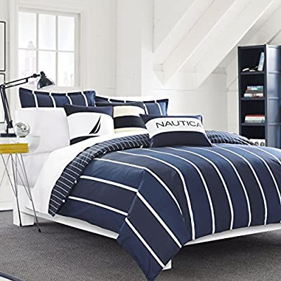 Nautica Knots Bay Comforter Set, Full/Queen, Navy - Reversible 3-piece comforter set Made of cotton Striped pattern - comforter-sets, bedroom-sheets-comforters, bedroom - 514yHGrxzgL. SS400  -