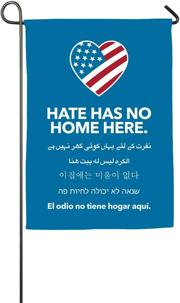 WINDST Hate Has No Home Here Lawn Sign Garden Flag 12 X 18 Inch Banner Two Sided Printing for Yard Decor