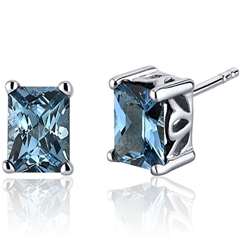London Blue Topaz Radiant Stud Earrings Sterling Silver 2.00 Carats -