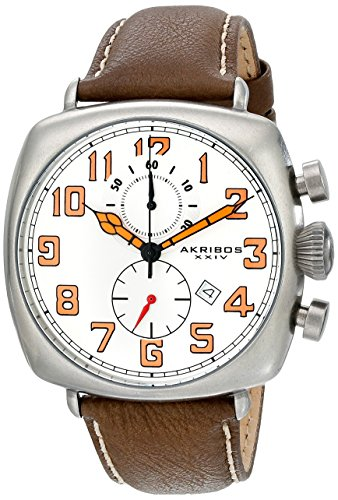 (Akribos XXIV Men's AK786WT Chronograph Quartz Movement Watch with White Dial and Brown with Cream Stitching Leather Strap )