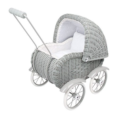 Legler Gray Wicker Work Doll's Pram by Small Foot