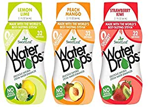 SweetLeaf Stevia Water Drops 3 Flavor Variety Bundle -1 Ea: Lemon Lime, Peach Mango & Strawberry Kiwi